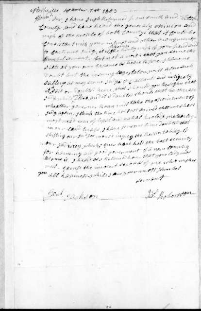 James Robertson to Andrew Jackson, September 7, 1803