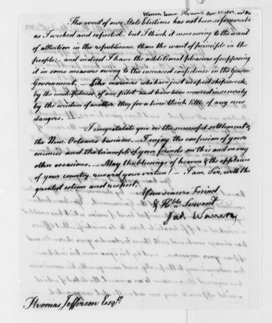 James Warren to Thomas Jefferson, April 25, 1803