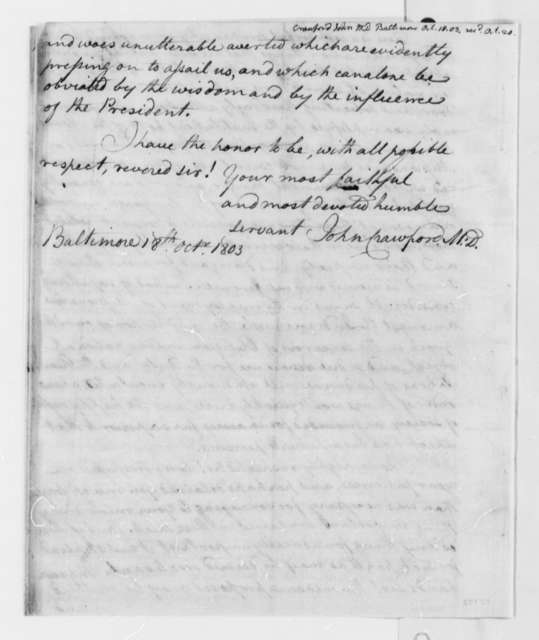 John Crawford to Thomas Jefferson, October 18, 1803