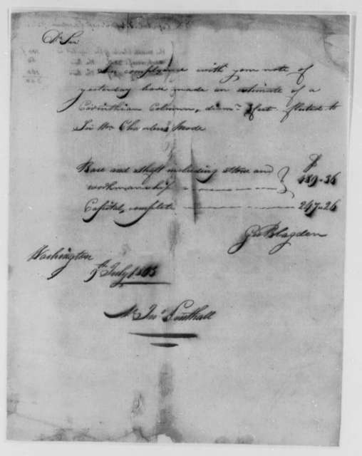 John Lenthall to Thomas Jefferson, June 1803, Receipts