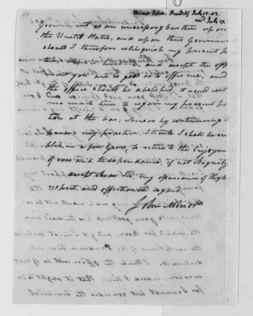 John Minor to Thomas Jefferson, July 15, 1803