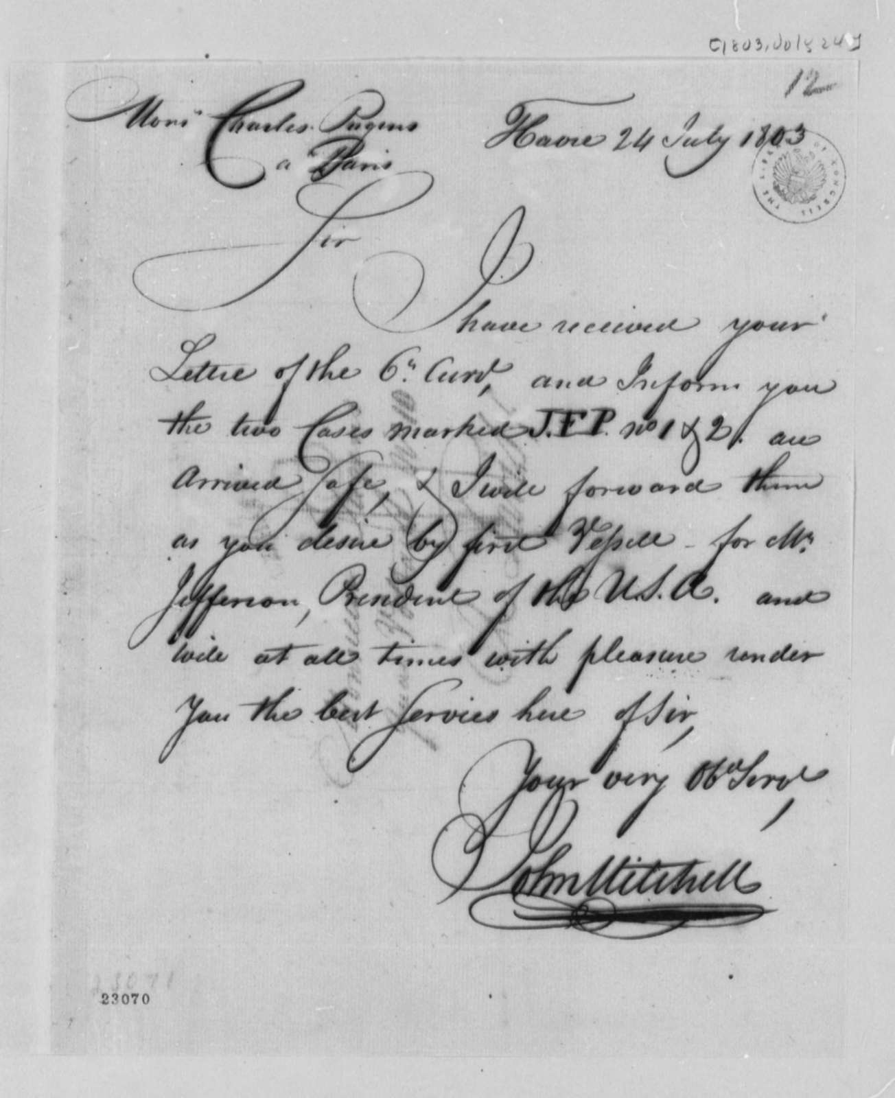 John Mitchell to Charles de Pougens, July 24, 1803