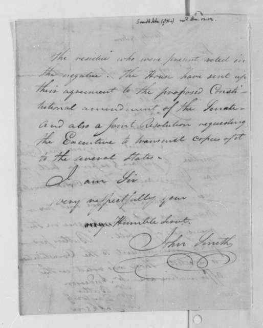 John Smith to Thomas Jefferson, December 12, 1803