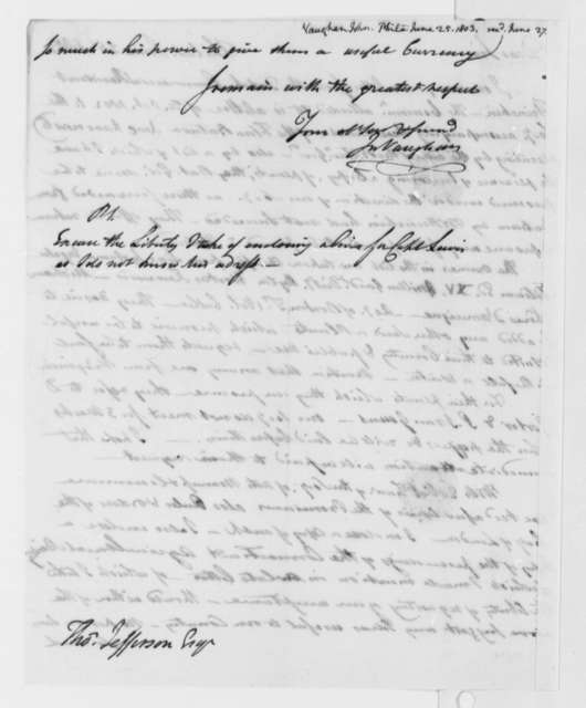 John Vaughan to Thomas Jefferson, June 25, 1803