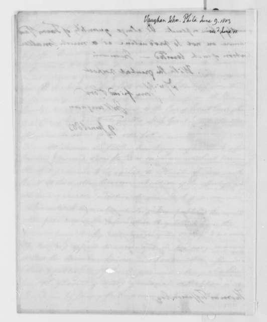 John Vaughan to Thomas Jefferson, June 9, 1803