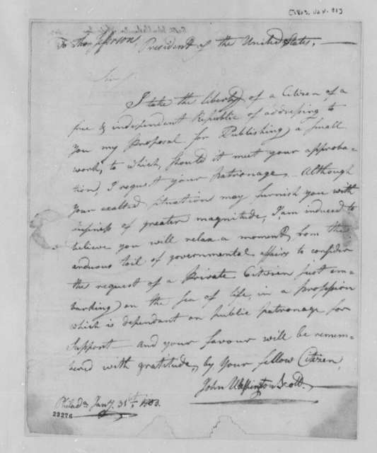 John Washington Scott to Thomas Jefferson, January 31, 1803