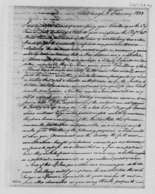 Joseph Coppinger to Thomas Jefferson, February 18, 1803