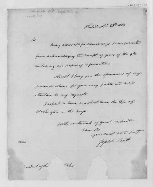 Joseph Scott to Thomas Jefferson, April 28, 1803