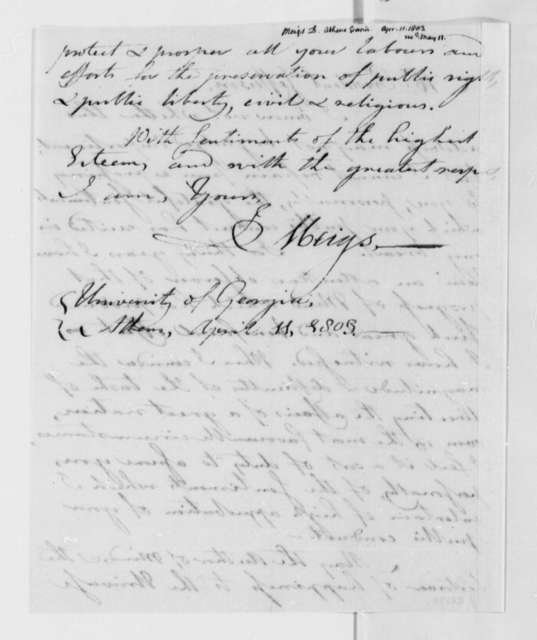 Josiah Meigs to Thomas Jefferson, April 11, 1803