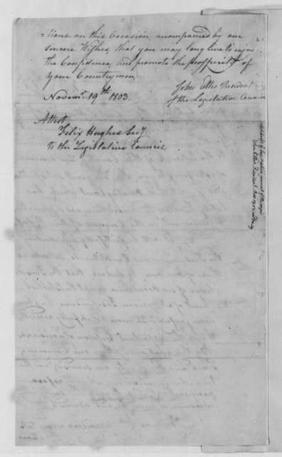 Legislative Council of Mississippi Territory to Thomas Jefferson, November 19, 1803
