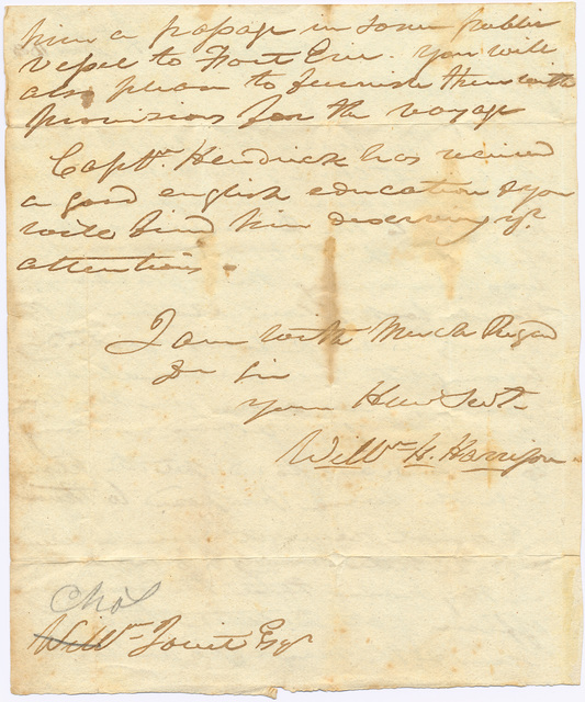 Letter from William Henry Harrison to Charles Jouett