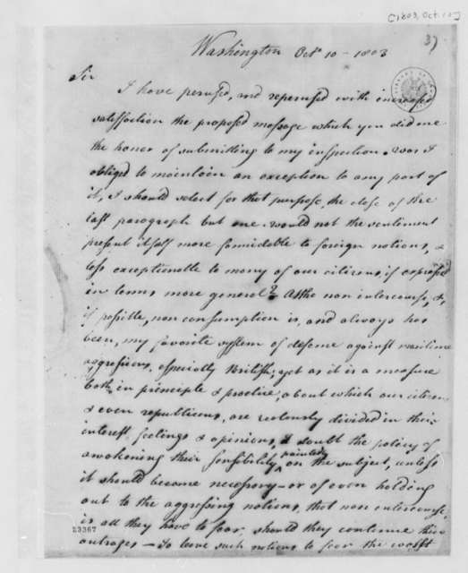 Levi Lincoln to Thomas Jefferson, October 10, 1803