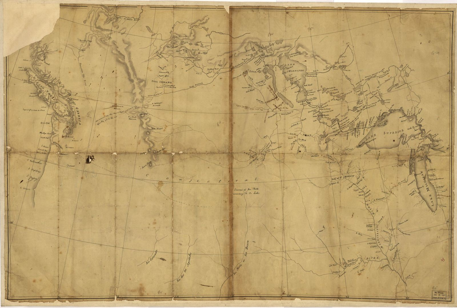 [Lewis and Clark map, with annotations in brown ink by Meriwether Lewis, tracing showing the Mississippi, the Missouri for a short distance above Kansas, Lakes Michigan, Superior, and Winnipeg, and the country onwards to the Pacific].