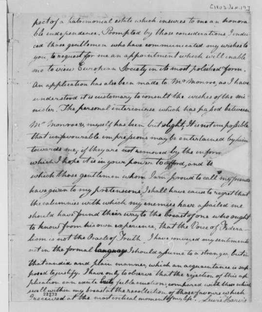 Lewis Harvie to Thomas Jefferson, January 19, 1803