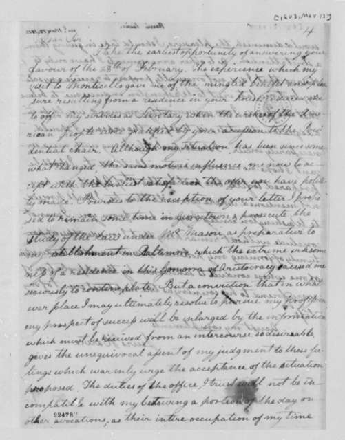 Lewis Harvie to Thomas Jefferson, March 12, 1803