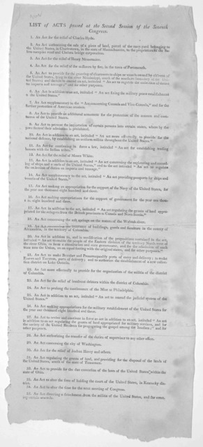 List of acts passed at the second session of the seventh Congress. [1803].