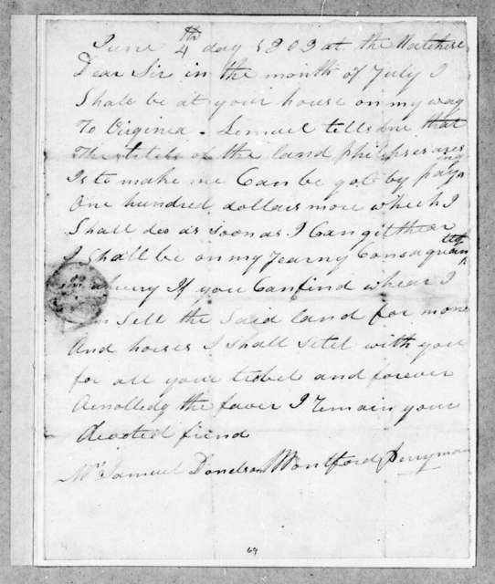 M. Perryman to Samuel Donelson, June 4, 1803