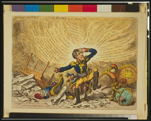 Maniac-raving's-or-Little Boney in a strong fit / Js. Gillray inv. & fect.