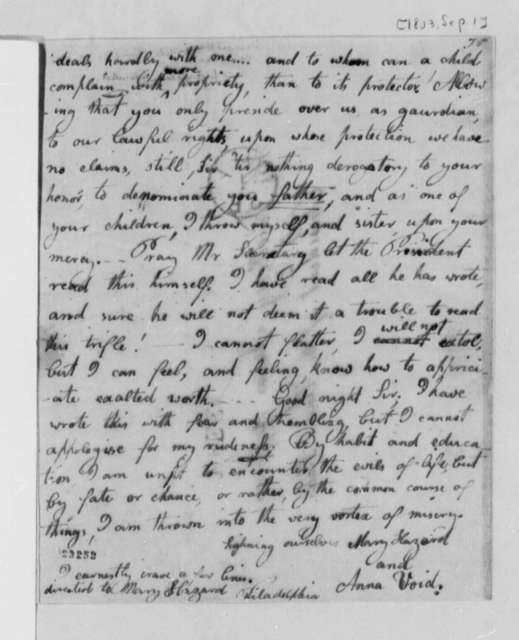 Mary Hazard and Anna Void to Thomas Jefferson, September 1, 1803