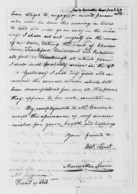 Meriwether Lewis to Thomas Jefferson, July 8, 1803