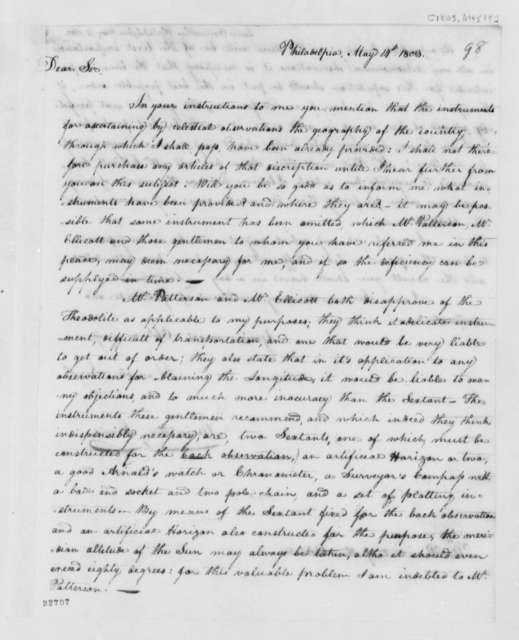 Meriwether Lewis to Thomas Jefferson, May 14, 1803