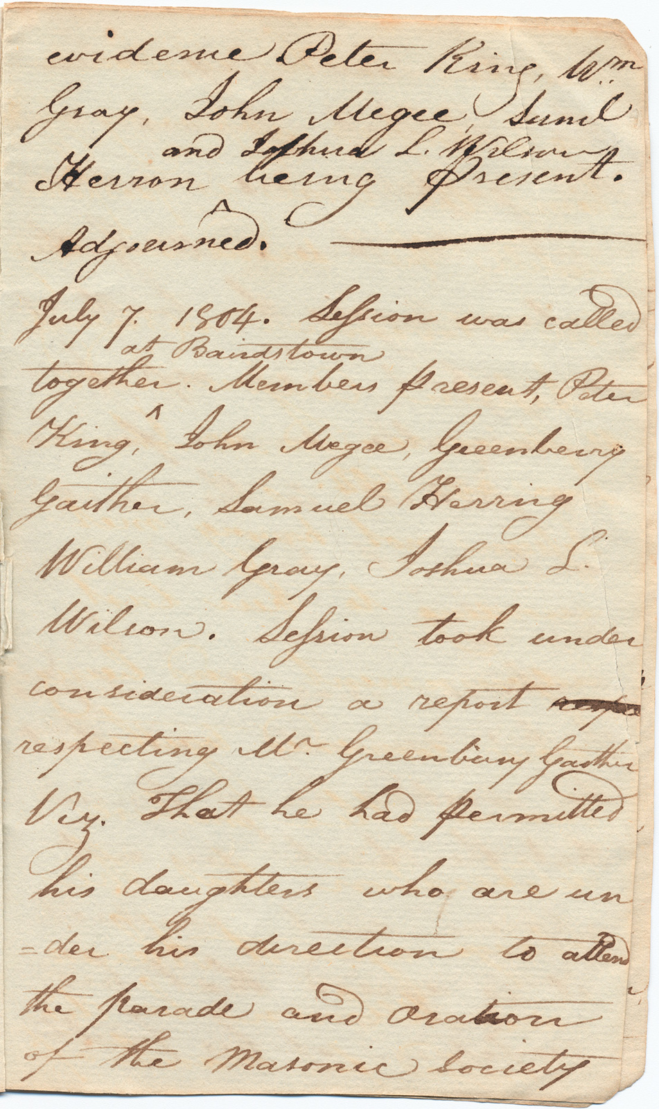 Minutes of Presbyterian congregation meetings at Big Spring and Bardstown, Kentucky