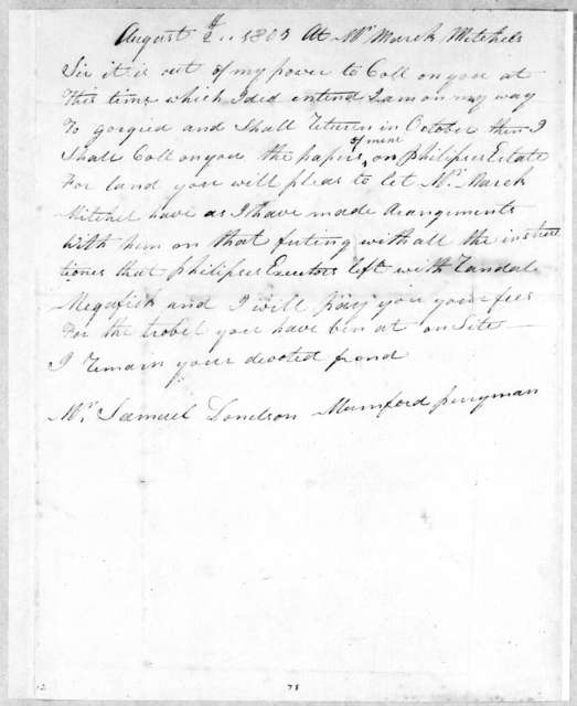 Mumford Perryman to Samuel Donelson, August 2, 1803