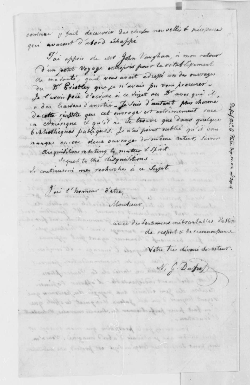 Nicholas Gouin Dufief to Thomas Jefferson, September 12, 1803, in French