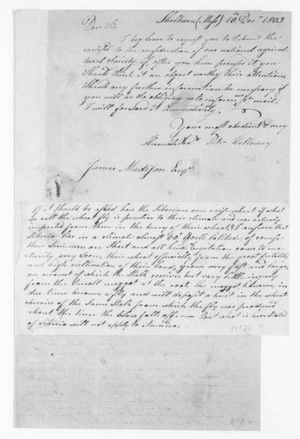 Peter Holloway to James Madison, December 10, 1803. and observations on the Hessian Fly.