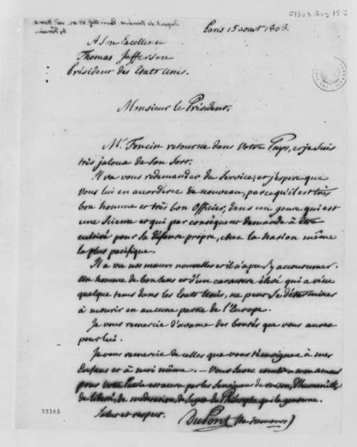 Pierre Samuel Dupont de Nemours to Thomas Jefferson, August 15, 1803, in French
