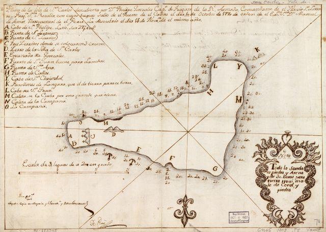 Plano de la Isla de Sn. Carlos descubierta por Dn. Phelipe Gonzales, Capn. de Fragata de la Rl. Armada, Comandante de el Navio. Sn. Lorenzo, Fragta. Sta. Rozalia, con cuyos bugues salio de el Puerto de el Callao de dia 10 de octubre de 1770 de orden de el Exmo. Sor. Dn. Manuel de Amat, Virrey actual de el Perú, la desubrio el dia 13 de novre. de el mismo año.