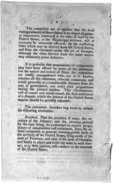 Report, in part of the Committee who were directed by a resolution of the House, of the twenty-fourth ultimo. to enquire into the expediency of amending the several acts providing for the sale of the public lands of the United States. 2d Decembe