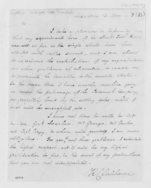 Richard Clairborne to Thomas Jefferson, May 14, 1803