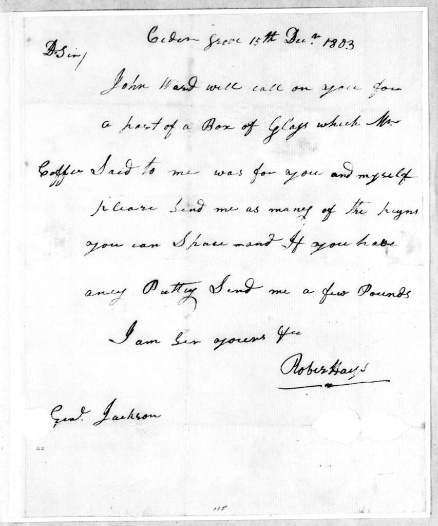 Robert Hays to Andrew Jackson, December 15, 1803