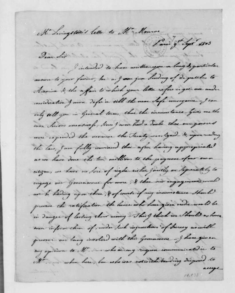 Robert Livingston to James Monroe, September 7, 1803. With Copy.