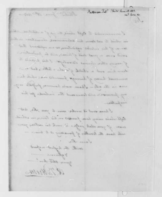 Robert Patterson to Thomas Jefferson, June 18, 1803