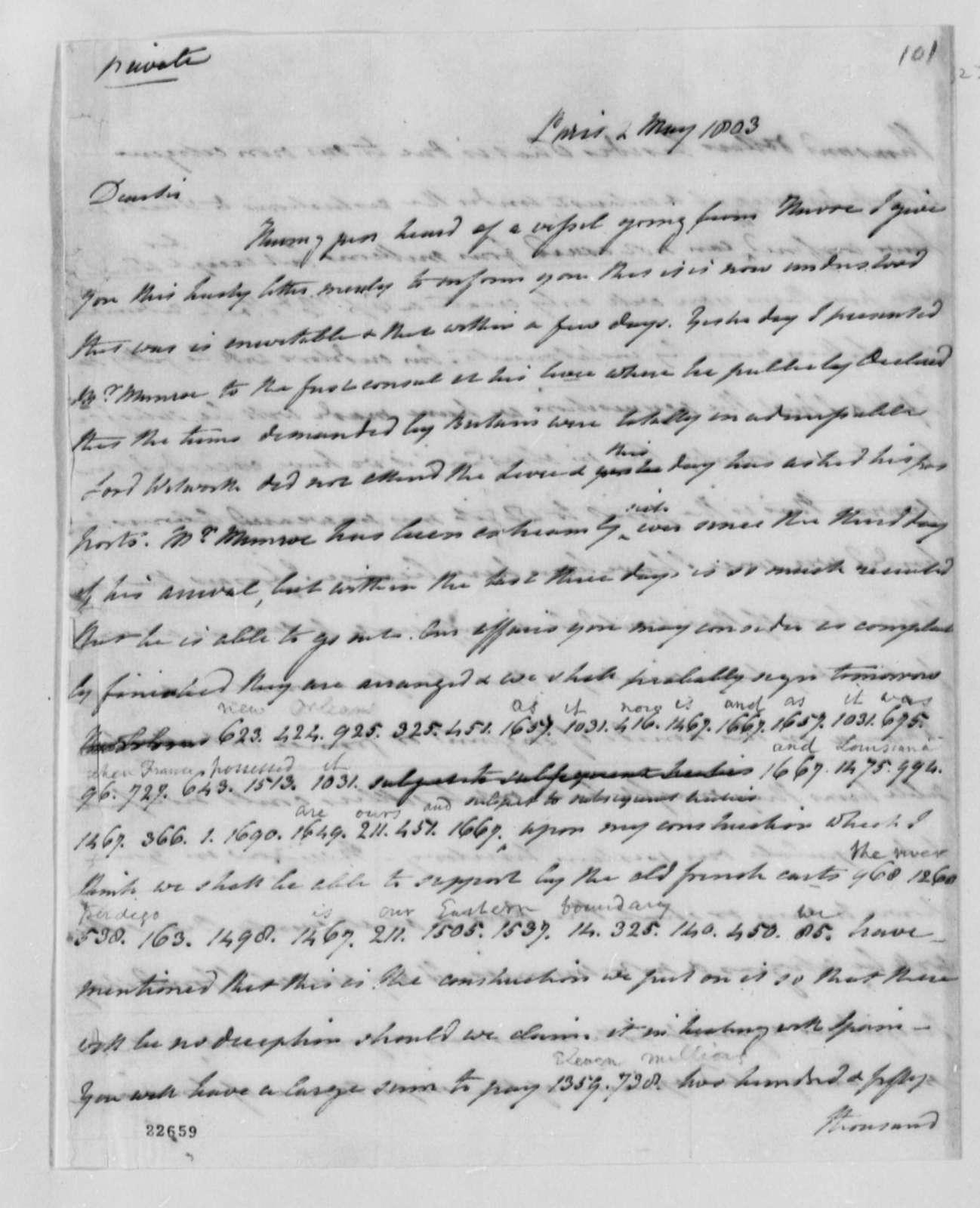 Robert R. Livingston to Thomas Jefferson, May 2, 1803