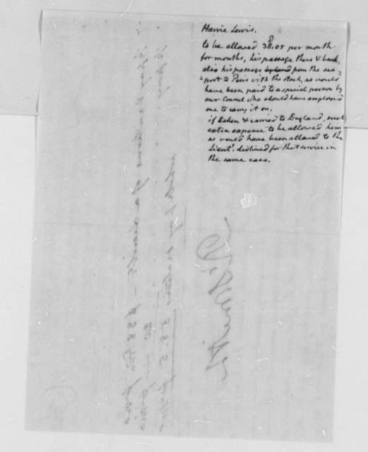 Robert Smith, February 28, 1803, Harvie Lewis, with Note by Thomas Jefferson