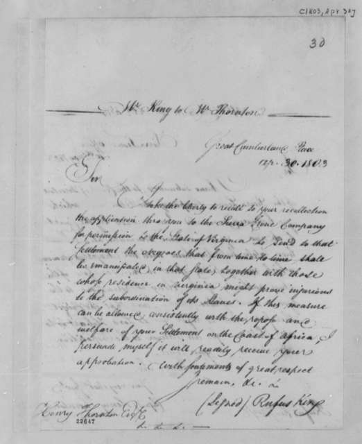 Rufus King to Henry Thornton, April 30, 1803