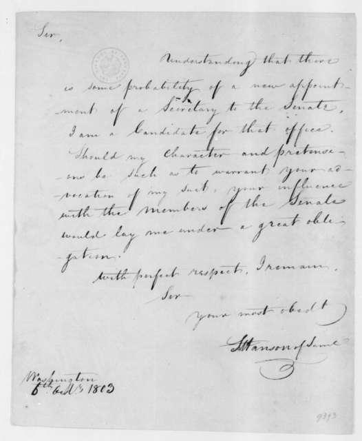 Samuel Hanson of Samuel to James Madison, October 6, 1803.