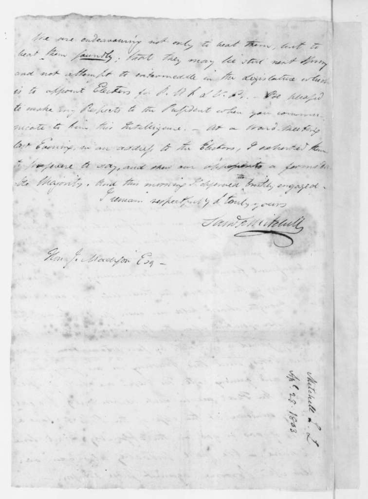 Samuel Latham Mitchill to James Madison, April 28, 1803.