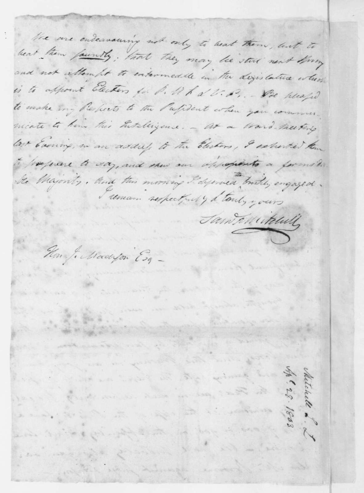 Samuel Latham Mitchill to James Madison, April 28, 1803.