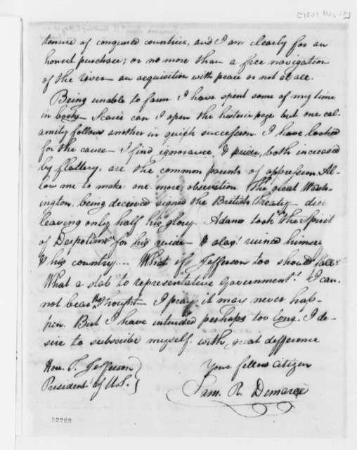 Samuel R. Demaree to Thomas Jefferson, May 30, 1803