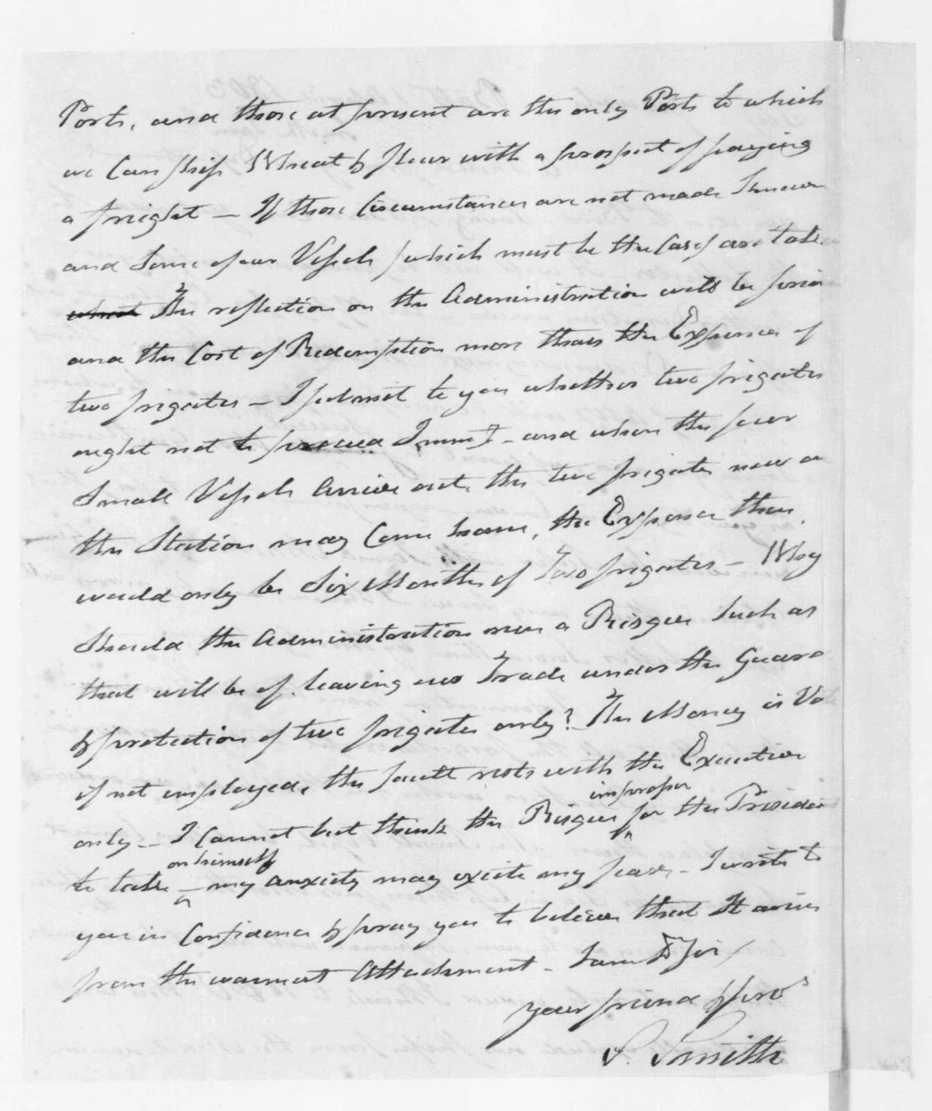 Samuel Smith to James Madison, April 1, 1803.