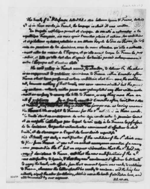 San Ildefonso Treaty, October 25, 1803, Notes on Treaty between France and Spain