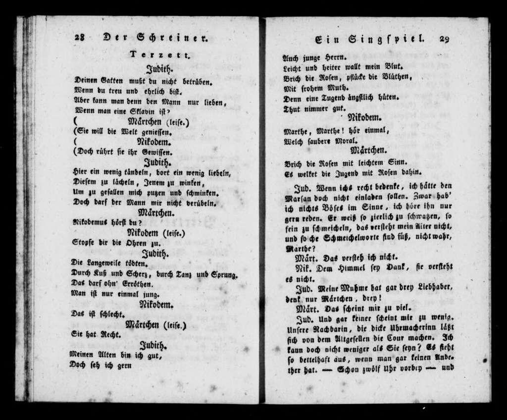Schreiner. Libretto. German