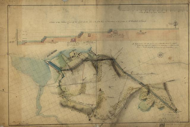 Section of the northern course of the canal from the tide in the Elk River at Frenchtown to the forked [oak] in Mr. Rudulph's swamp : [Chesapeake and Delaware Canal, Maryland portion] /