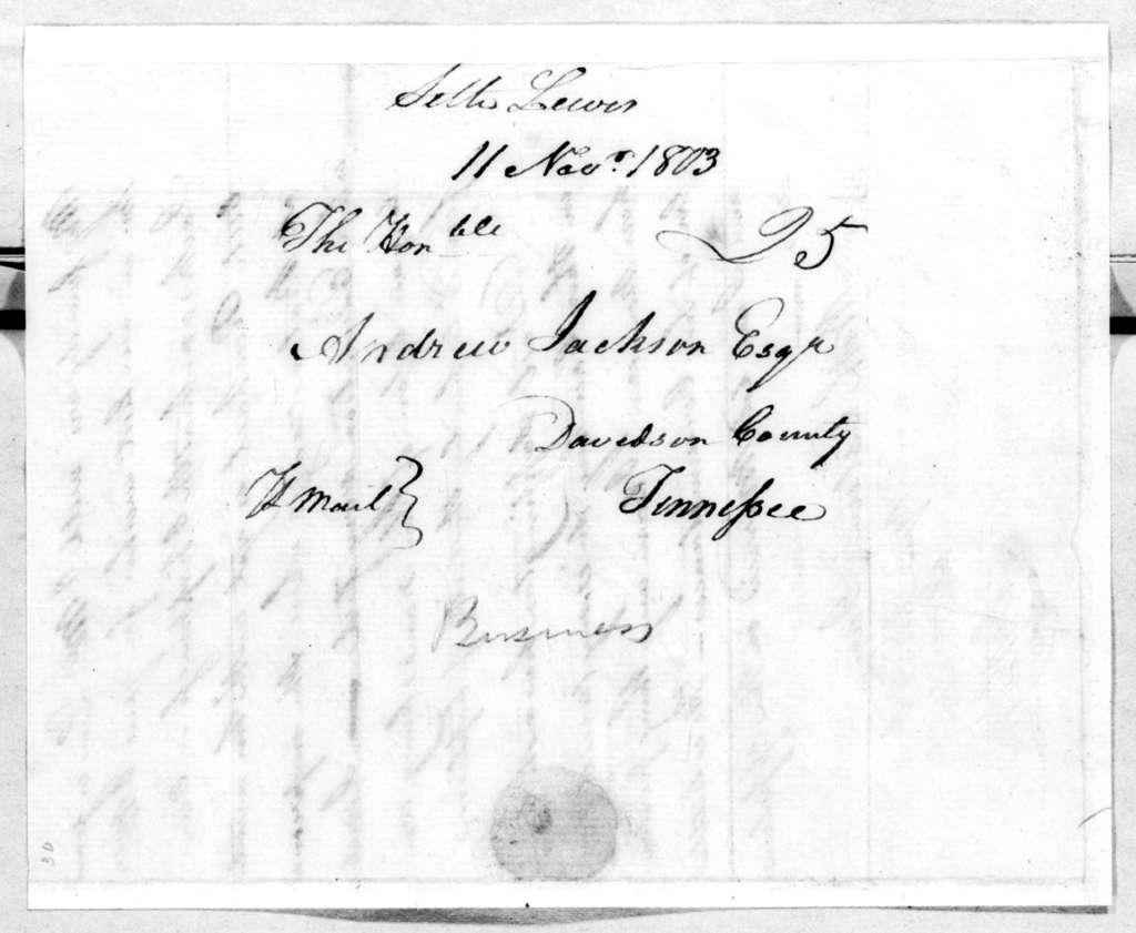 Seth Lewis to Andrew Jackson, November 11, 1803