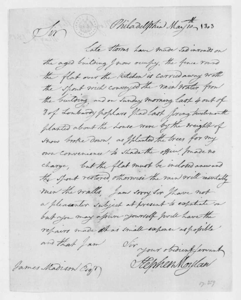 Stephen Moylan to James Madison, May 10, 1803.