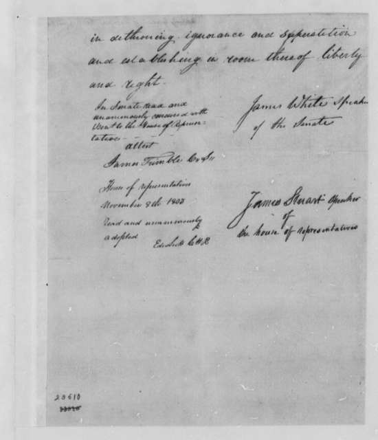 Tennessee Legislature to Thomas Jefferson, November 8, 1803